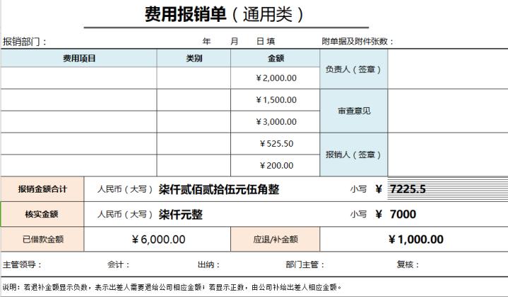 费用报销单(通用,含明细,大写自动).xlsx